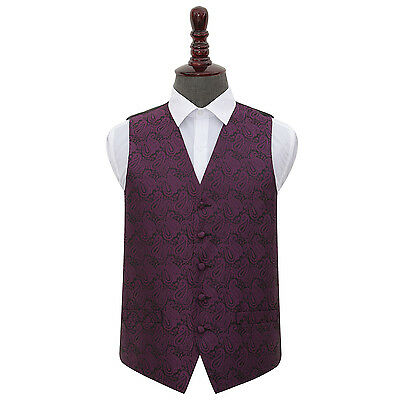 DQT Woven Floral Paisley Purple Formal Mens Wedding Waistcoat S-5XL