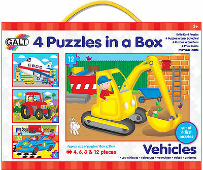 Galt 4 PUZZLES IN A BOX VEHICLES Baby/Toddler/Child Jigsaw Shape Sorter BN