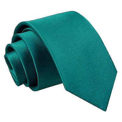 New DQT Plain Teal Slim Tie