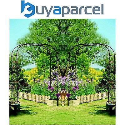 2 x Gardman 07725 Extra Wide Garden Arch Pergola Steel Black Decorative Plant