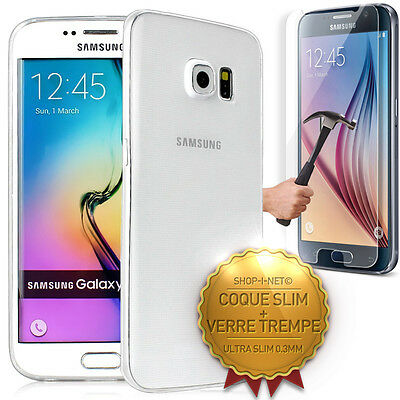 Pack Coque + Verre Trempe★ Slim Silicone★Transparent★ Pour Samsung Galaxy Series