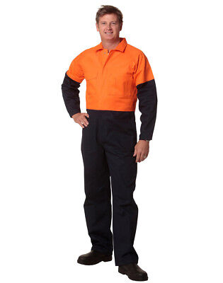 New Men's Two Tone Coverall Overalls Work Wear Orange Yellow Navy Safety Fluro