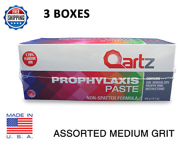 Qartz Prophy Paste Cups ASSORTED MEDIUM 200/Box  Dental Non-Splatter - 3 BOXES