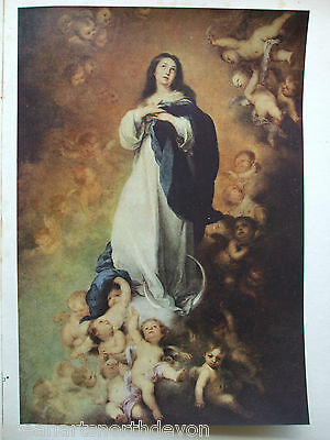 Antique Print C1930S Paintings The Immaculate Conception Bartolome E Murillo