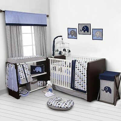 Nursery Baby Boys Blue Gray Elephants 10 Piece Cotton Crib Bedding Set