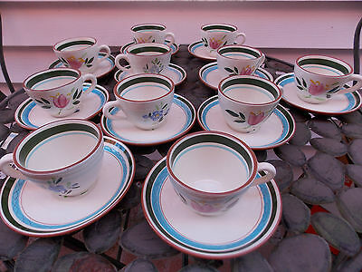 Stangl Art Pottery Hand Painted Country Garden Cups & Saucers Set of 11, USA