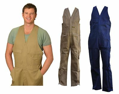 Mens Action Back Overall Khaki Navy Work Wear Builder Long Cotton Drill Upf 50+