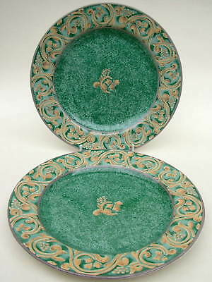 BHS Valencia Pattern Dark Green Side or Bread Size Plates 16.75cm Look in VGC