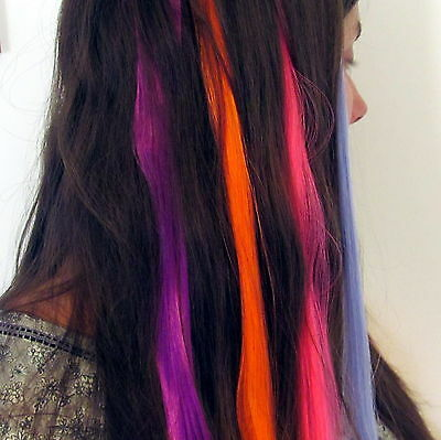 """Clip On Hair Extensions- 21"""" Strands-12 Colours Hairpiece Party Cosplay Dress Up"""