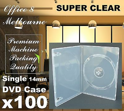 PREMIUM 100 x 14mm Single Fully Super Clear CD DVD Case Standard Size DVD Cover
