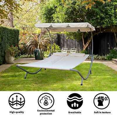 WestWood Garden Outdoor Patio Double Sun Lounger Day Bed Hammock Canopy Beige