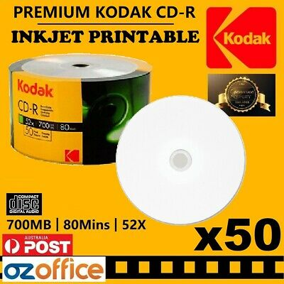 50 x KODAK CD Inkjet Printable Blank CD-R 52X 80mins 700mb TDK Ritek CD Quality