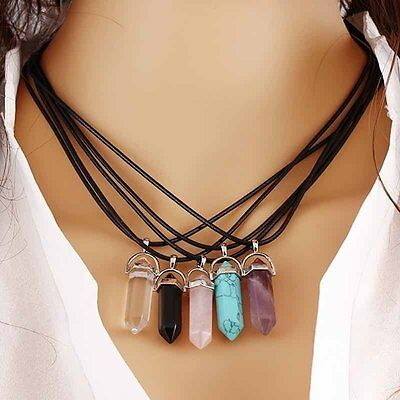 Natural Gem Rock Quartz Healing Point Chakra Stone Pendant Necklace Leather