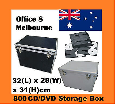 UNIQUE Square Aluminium 800 x CD DVD Blu Ray Storage Box Lock Case Black Silver
