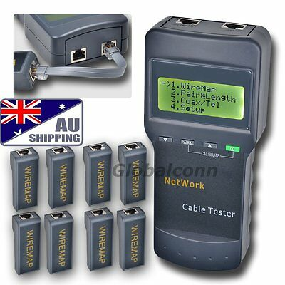 AU SC8108 Network Cable Tester Meter Cat5 LAN Phone RJ45 Mapper 8 Far End Jack