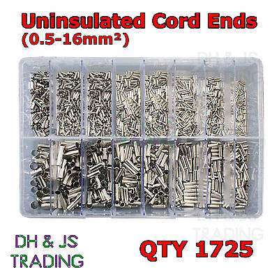 Assorted box of Uninsulated Cord Ends (0.5 – 16.0mm²) Ferrule Bootlace