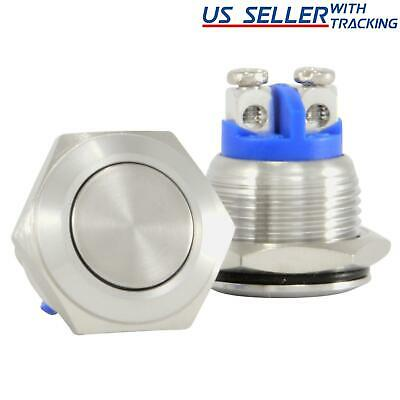 5x 16mm Starter Switch / Boat Horn Momentary Push Button Stainless Steel Metal