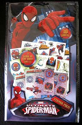 Marvel Ultimate SPIDERMAN 10 Sheet Sticker Pack Boys Kids Party Favours NEW
