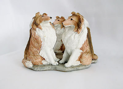 """Sable Rough Collie 5 Sculptures in a Circle Candle Holder-4"""" High X 6"""" Across"""