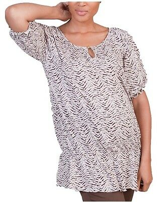 *NEW Women's Printed Ruched Comfy Maternity Post-Pregnancy Shirt Top Size Large