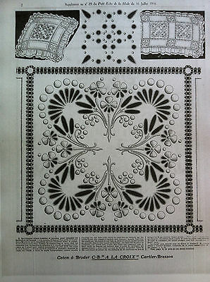LOT 500grams (36 pages) HAND EMBROIDERY PATTERNS from l'ECHO 1916