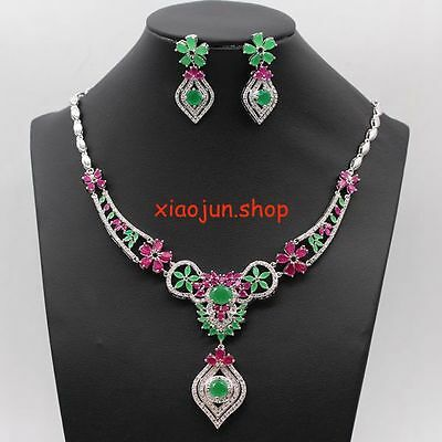 210Ct Top Class Natural Ruby &green Emerald Necklace  & Earrings Silver Set