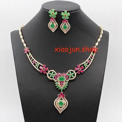 210Ct Top Class Natural Ruby &green Emerald Necklace  & Earrings Gold Set
