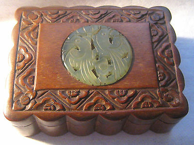 Antique Chinese Wood Dresser / Trinket Box – Carved Jade Birds Medallion