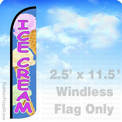 2.5x11.5 WINDLESS Swooper Feather Flag Banner Sign - ICE CREAM bz