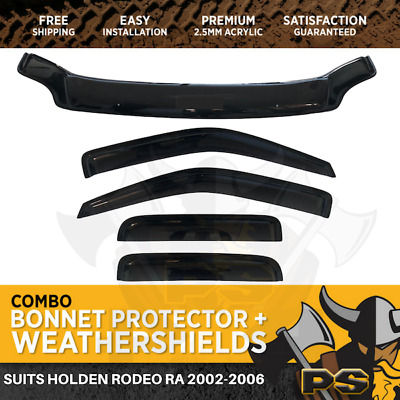 2002-2006 Holden Rodeo RA Bonnet Protector & Window Visors Weather Shields