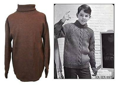 Boys vintage polo necked jumpers 60's ages 7 - 10 brown cotton Ladybird 60's
