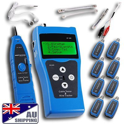 Ethernet LAN Phone Network Cable Tester Wire Tracker coaxial 8 Far-end Jacks USB
