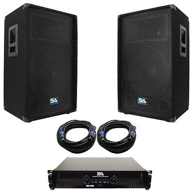 "Seismic Audio Pair of 15"" PA DJ Speakers with Amplifer & 50' Cables"