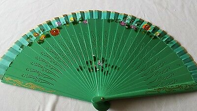 Hand Fan 9 inches hand painted and carved wood green fan US seller