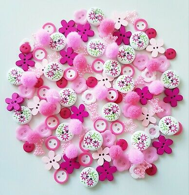 150 Stunning Pink Wood & Resin Buttons Flatbacks Scrapbooking Craft Diy