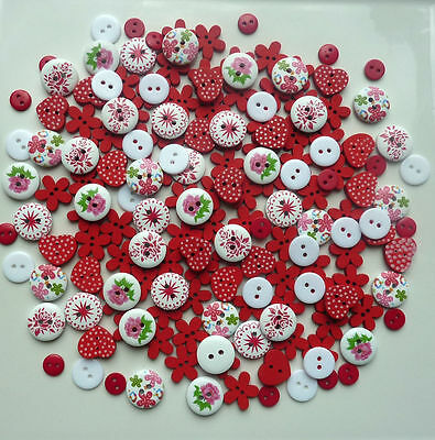 150X9mm 15mm RED MIXED WOOD RESIN BUTTONS SCRAPBOOKING SEWING CRAFT CARD MAKING