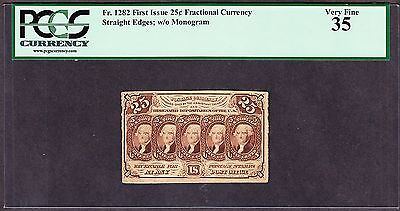 US 25c Fractional Currency w/o Monogram FR 1282 PCGS 35 Ch VF
