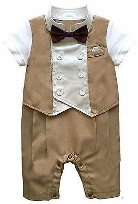 Baby Boy Formal Party Wedding 1pc Short Tuxedo Outfit With Bow Tie 3-18 M