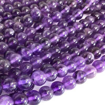 "Natural Gemstone Purple Amethyst Round Beads 15"" 4 6 8 10 12mm Free Shipping"