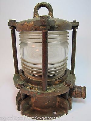 Original Old Nautical Ships Lamp Brass Boat Light ribbed clear Glass heavy 13lb+