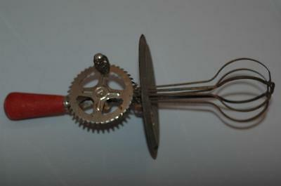 "Vintage A&J EKCO Hand Crank Metal & Red Wood Handle Egg Beater/Mixer 11"" Long"