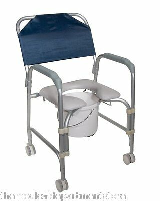 Drive Medical Aluminum Shower Chair/Commode with Casters