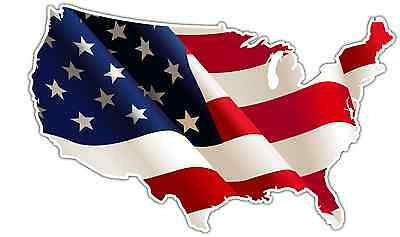 "United States USA Country Flag Map Bumper Window Mirror Sticker Decal 5""X4"""
