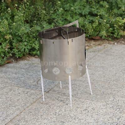 Stainless Steel Wind Shield Camping Picnic Wood Burning Stove with Storage Bag