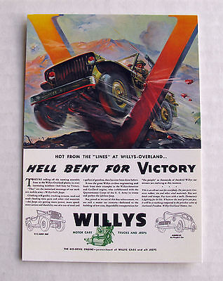 Wartime Willys Jeep  - Postcard