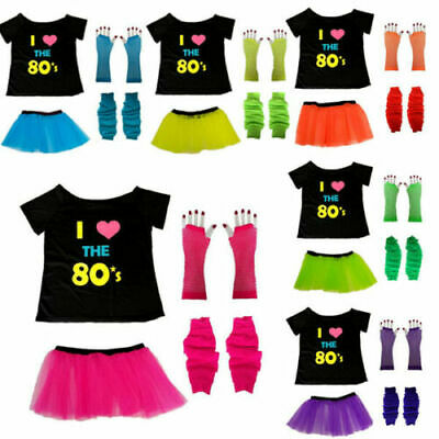Neon Tutu Skirt T Shirt Gloves Legwarmer 1980S Ladies 80S Fancy Dress Costume
