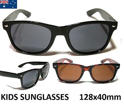 Kids / Children's Retro Sunglasses - Gloss Black Frame (2-8 Years Boys / Girls)