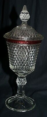 Indiana Glass Diamond Point Pattern Ruby Band Lidded footed compote 1980
