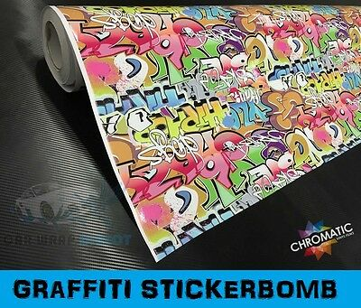 Graffiti Sticker Bomb Wrapping Vinyl 1.52 x 3m Bubble Free Car Wrap Film Foile