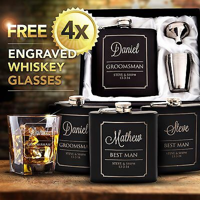 4x Black Engraved Hip Flask Gift Personalised Wedding Groomsman Bridal Party Box